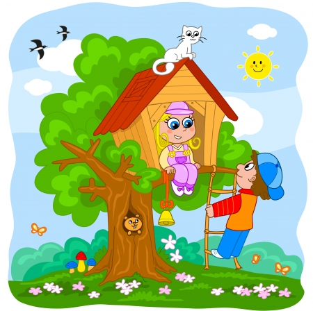 country house: Young boy and girl playing in a tree house  Cartoon illustration for little kids