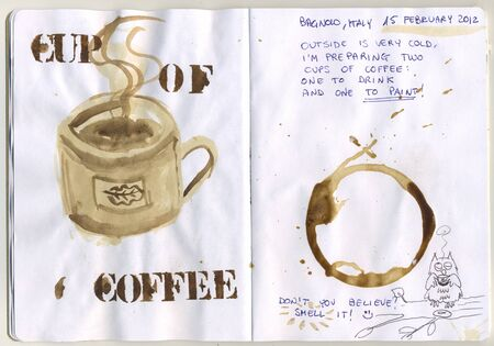 sketchbook: Hand painted sketchbook with coffee cup Stock Photo