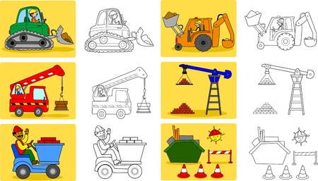 heavy construction: Coloring page for little kids about heavy industry