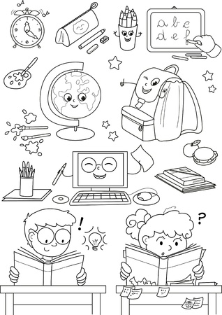 coloring sheet: Coloring school elements for little kids Illustration