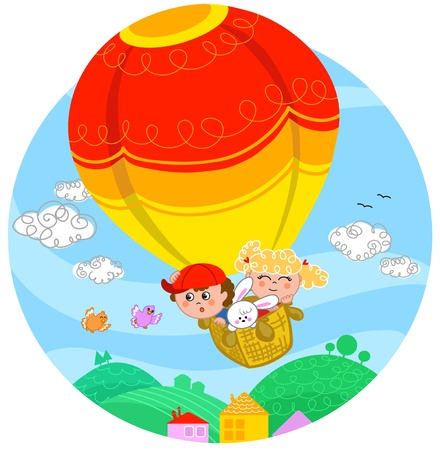 Two cute children and a white bunny flying with hot air balloon