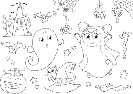 Coloring Halloween set  Cute ghosts, masked girl, creepy house, bats, funny spiders, jack-o-lantern, cat with witch hat Vector