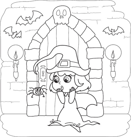 Coloring Halloween little witch in creepy house Stock Vector - 15567496