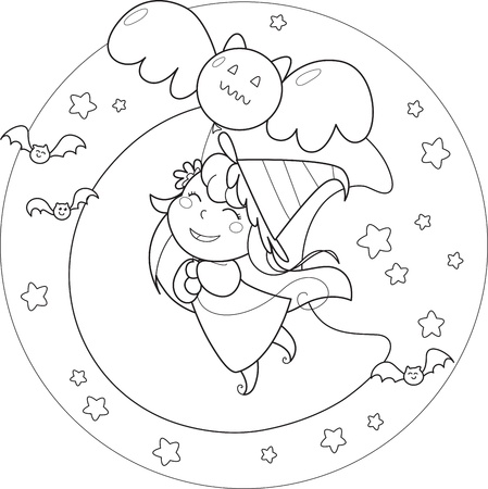Coloring Halloween flying witch with balloon in the moonlight Vector