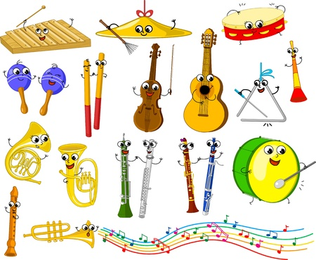 instruments: Set of funny cartoon musical instruments for kids