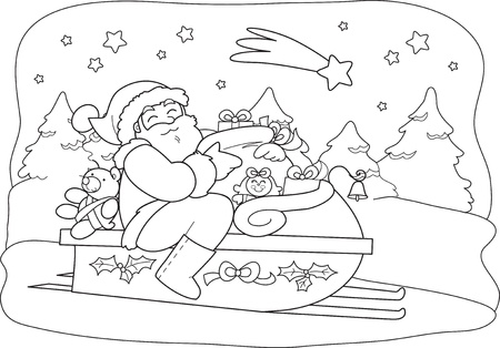 Cartoon Santa Claus sliding in a sled full of gifts in a starry Christmas night Stock Vector - 15679851
