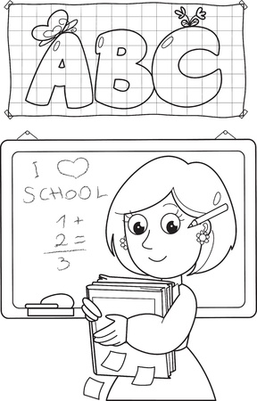 Cartoon coloring school teacher with books and black board   Illustration