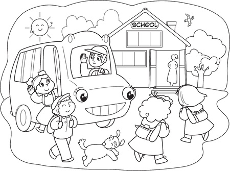 to go: Cartoon pupils going to school with school-bus