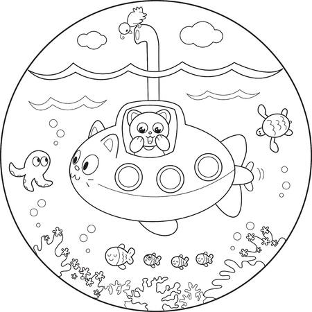submarino: Gato en submarino mirando a la vida marina bajo el agua