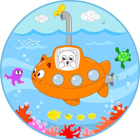 Cute cat in a submarine looking with surprise at the sea life under water  Vector