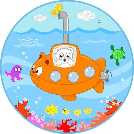 Nette Katze in einem U-Boot suchen mit Überraschung am Meer das Leben unter Wasser