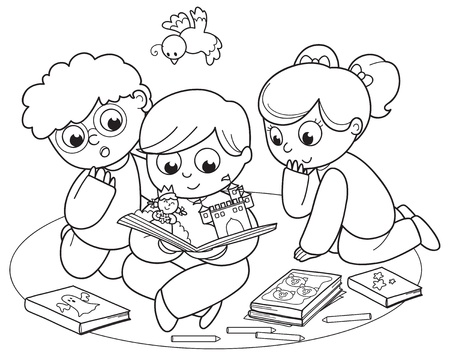 Coloring illustration of friends reading a pop-up book together