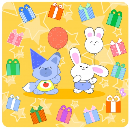 Birthday party with a cartoon fox and a cute bunny with balloons and gifts