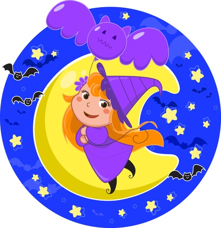 Little Halloween witch flying in the moonlight using a bat balloon Stock Vector - 15808980