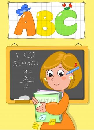 escuela caricatura: Maestra de la escuela con los libros y la junta negro