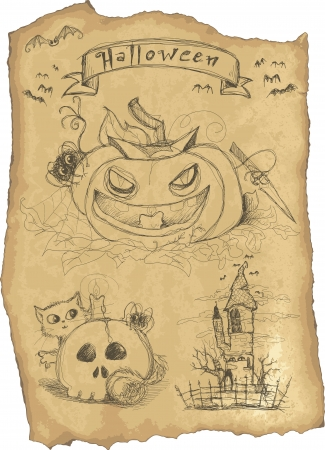 Grunge icon set for Halloween pumpkin, cat with skull, hunted house and bats  Vector