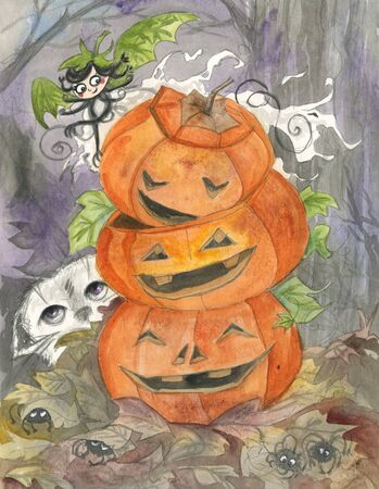 dead leaf: Halloween ghost and jack-o-lanterns watercolor Stock Photo