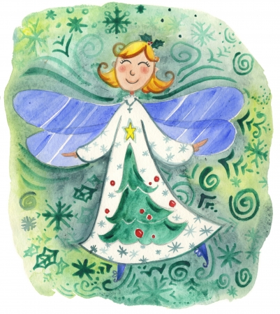 christmas angels: Cute Christmas angel watercolor in green Stock Photo