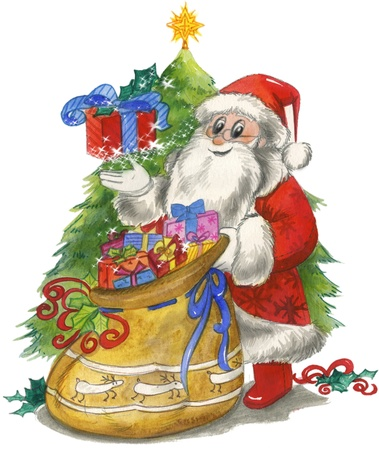 Santa Claus with sac and decorated tree, watercolor photo