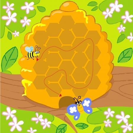 mariposa caricatura: Solucionado laberinto juego para los ni�os peque�os, la colmena