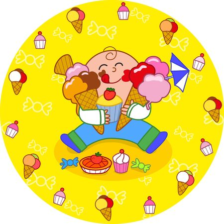 indulging: Boy eating sweets circle illustration Illustration