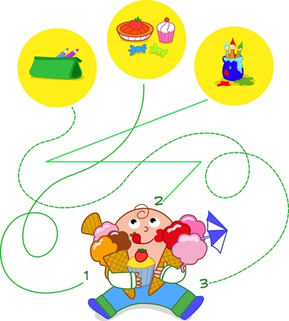 Child eating sweets - game Vector