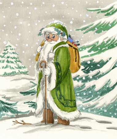 irish christmas: Nordic Santa Claus in green dress, watercolor Stock Photo