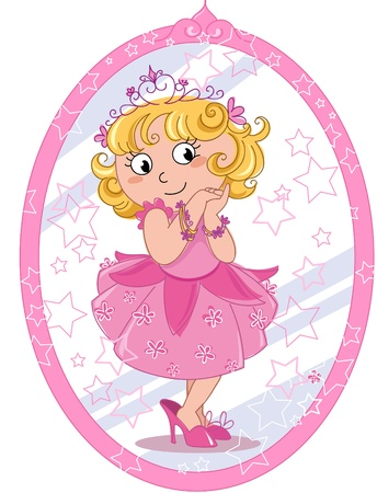infancy: Cute girl pretending to be a princess in pink and looking to herself in the mirror   Illustration