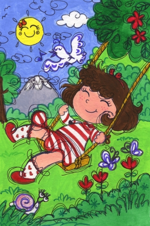 springtime: Cute little girl on a swing in springtime  Hand made illustration