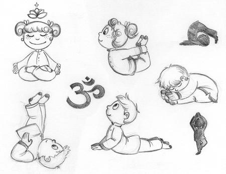 Little children practicing yoga positions  Hand drawn illustration
