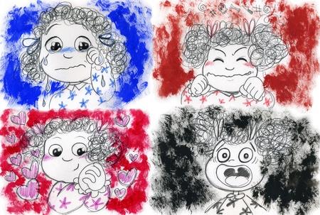 psicologia infantil: Cuatro retratos de niña triste, enojado, en el amor y miedo