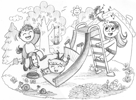 Playground in the country  3 happy kids playing together  Pencil hand drawn illustration Stock Illustration - 17542932