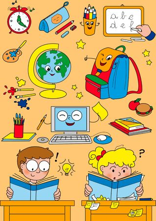 Cartoon school elements for little kids photo