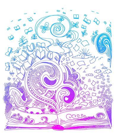 digital book: Open book sketchy doodles