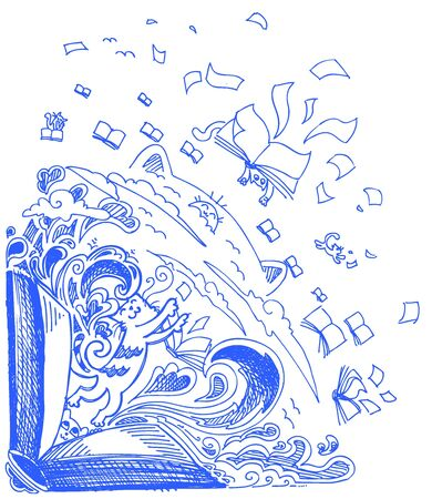 cat open: Blue sketchy doodles with books and cats