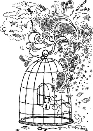 out door: Freedom sketch doodles with an open cage Illustration