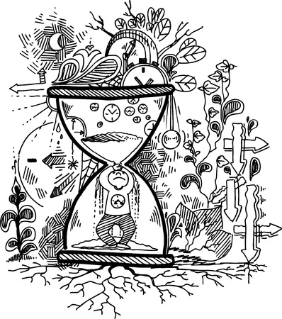 jailed: Sketchy doodles with stressed man trapped in an hourglass