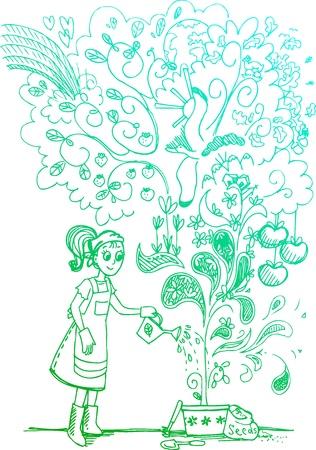 놀라운: 놀라운 식물에 물을 여자 스케치 낙서 그림 일러스트