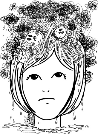Sketchy illustration of woman head full of nightmares