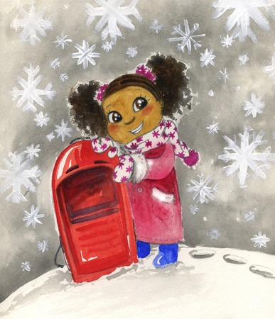 toboggan: Young black girl with red sledge watercolor