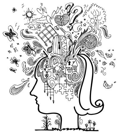 sentimientos y emociones: Mujer llena de pensamientos confusos cabeza
