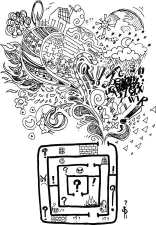 psicologia: Doodles incompletos acerca de encontrar el camino correcto