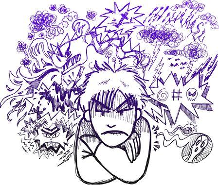 anger kid: Doodle impreciso del giovane arrabbiato con palloncini