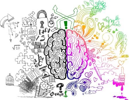 Lewa i prawa półkula mózgu fragmentaryczne doodles