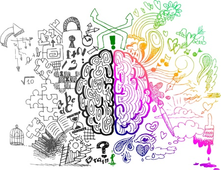 Linker en rechter hersenhelft schetsmatig doodles