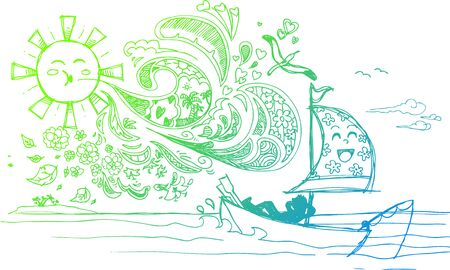 Sketched doodles of relaxing holidays at the seaside Vector
