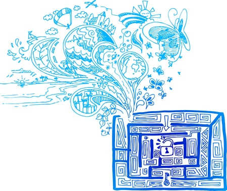 open brain: Blue sketchy doodles finding the way in a maze