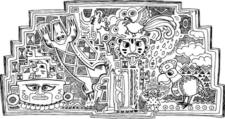 inca: Maya decoration with precolumbian animals and faces