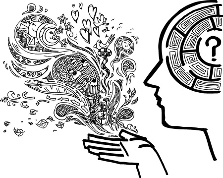 hombre de perfil: El hombre con el perfil de laberinto en el doodle incompleto del cerebro Vectores
