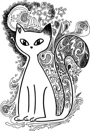 Cat in the moonlight sketchy doodles Stock Vector - 17970237